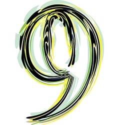 Font NUMBER 9 vector image vector image
