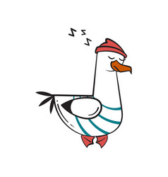 Funny cartoon seagull sleep vector