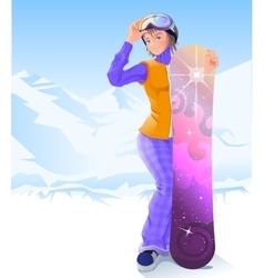 Girl and snowboarding Winter sport vector image vector image