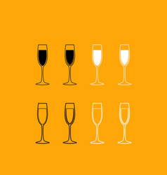 glass of champagne set black and white icon vector image