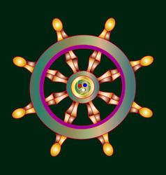 Golden dharma wheel buddhism vector