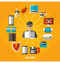 Hacking Methods Round Composition vector image