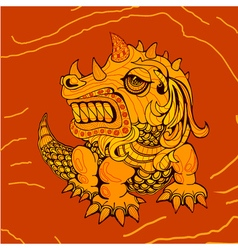 hand draw of dragon in zentangle style vector image vector image