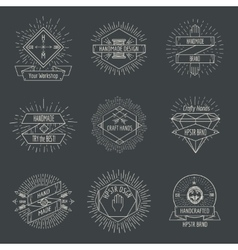 Handmade logo or crafts emblems vintage set vector