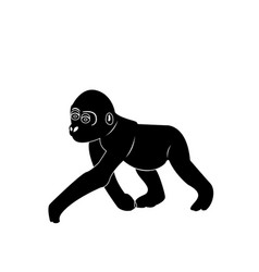 isolated monkey silhouette vector image vector image