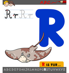 letter r with cartoon ray animal character vector image vector image