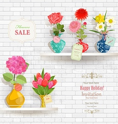 lovely flowers in modern vases for sale on shelves vector image