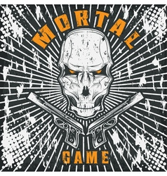 mortal game with skull and guns vector image vector image