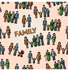Multigenerational family freehand pattern with all vector