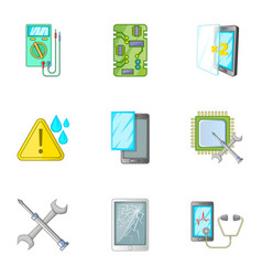 Phone repair tool icons set cartoon style vector