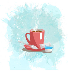 Pink cup with coffee drink on a abstract vector