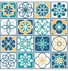 portuguese tiles pattern - azulejo seamless vector image vector image