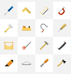 Set of 16 editable equipment flat icons includes vector