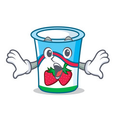 surprised yogurt mascot cartoon style vector image