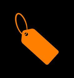 tag sign orange icon on black vector image