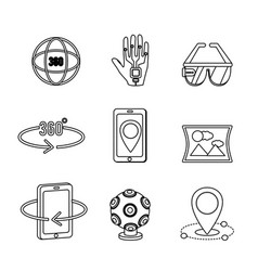 Virtual reality with digital technology elements vector