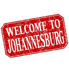 Welcome to johannesburg red square grunge stamp vector