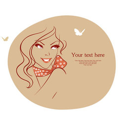 woman with butterfly vector image