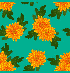 Yellow chrysanthemum on green teal background vector