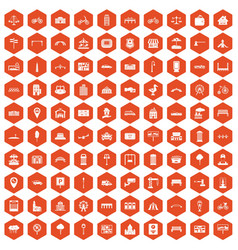 100 city icons hexagon orange vector