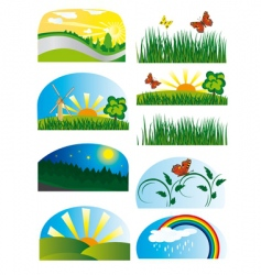 Collection of elements of nature vector