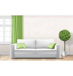 Modern interior with sofa window green curtain vector