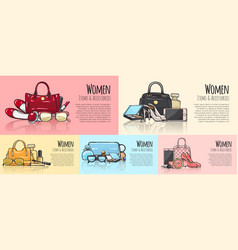 Women items and accessories set of pictures vector