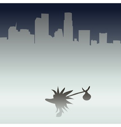 Hedgehog in the metropolis vector image