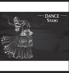 Dance line chalk tribal belly dance vector