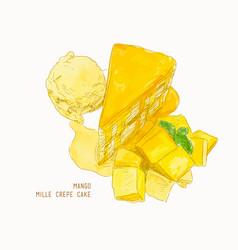 Mango mille crepe cake sketch vector
