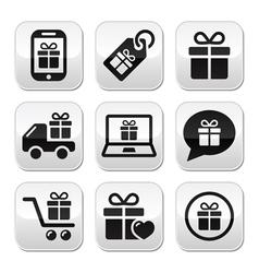 Present shopping buttons set vector