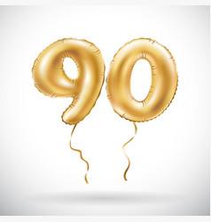 Golden number 90 ninety metallic balloon party vector