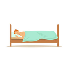 Young man sleeping on stomach in his bed relaxing vector