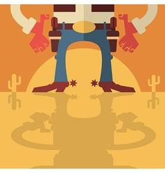 Cowboy with guns background vector image