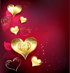 Golden Hearts on Red Background vector image