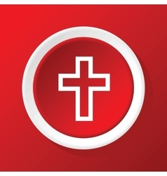 Christian cross icon on red vector
