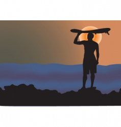 Surfer sunrise vector