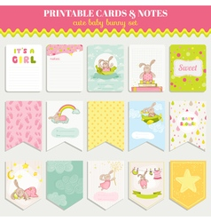 Baby Bunny Card Set - for birthday baby shower vector image