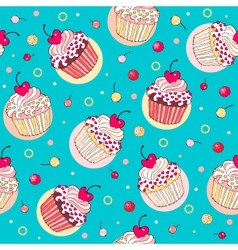 Cupcakes pattern vector