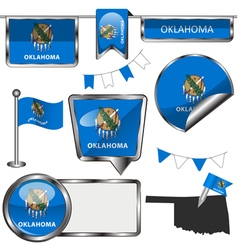 Glossy icons with oklahoman flag vector