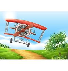 Airplane landing on dirt road vector