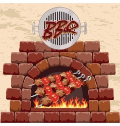 barbecue in the fireplace vector image vector image
