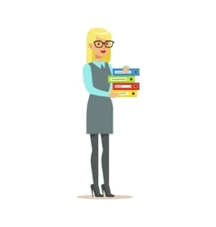 Blond Secretary Holding Pile Of Folders Part Of vector image