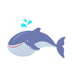 blue whale cartoon flat vector image