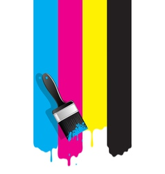 Brush with cmyk paint vector image
