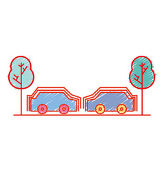 Cars transportation in the same road with trees vector