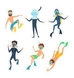 cartoon of sea divers funny vector image