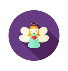 Christmas girl angel flat icon vector