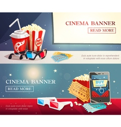 Cinema entertainment flat horizontal banners vector