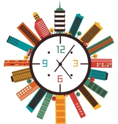 Clock with buildings vector image vector image